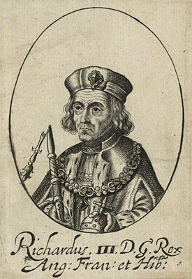 Line engraving of Richard III. Probably 17th century, possibly by William Faithorne (copyright National Portrait Gallery)
